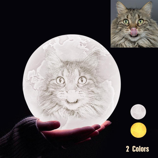 Personalized 3D Printing Photo&Engraved Earth Lamp - For Pet Lover - Touch 2 Colors(10cm-20cm)