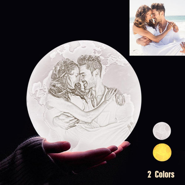 Personalized 3D Printing Photo&Engraved Earth Lamp - For Valentine - Touch 2 Colors(10cm-20cm)