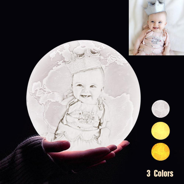 Personalized 3D Printing Photo&Engraved Earth Lamp - For Baby - Tap 3 Colors(10cm-20cm)