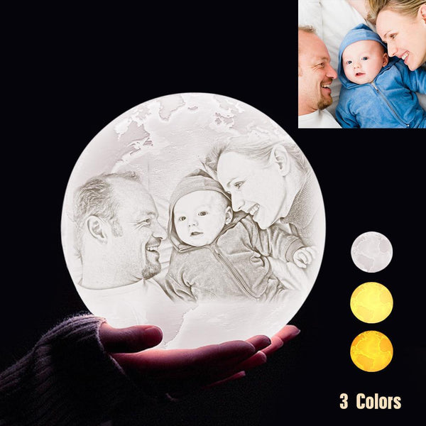 Personalized 3D Printing Photo&Engraved Earth Lamp - For Family - Tap 3 Colors(10cm-20cm)