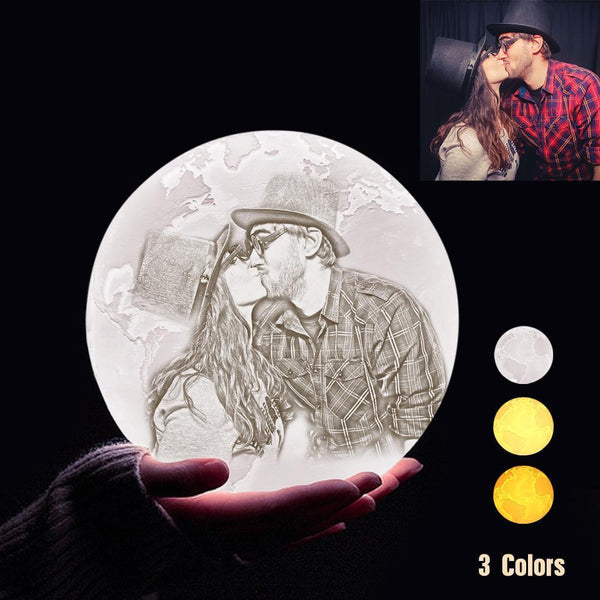 Personalized 3D Printing Photo&Engraved Earth Lamp - For Valentine - Tap 3 Colors(10cm-20cm)