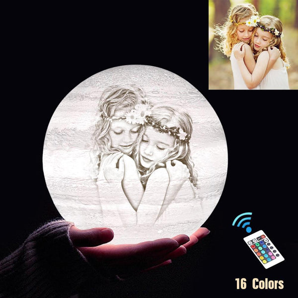Personalized 3D Printing Photo&Engraved Jupiter Lamp - For Baby - Remote Control 16 Colors(10cm-20cm)