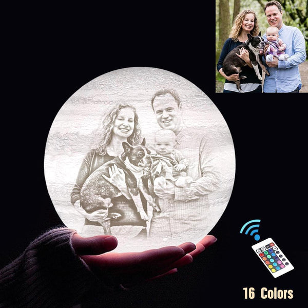 Personalized 3D Printing Photo&Engraved Jupiter Lamp - For Family - Remote Control 16 Colors(10cm-20cm)