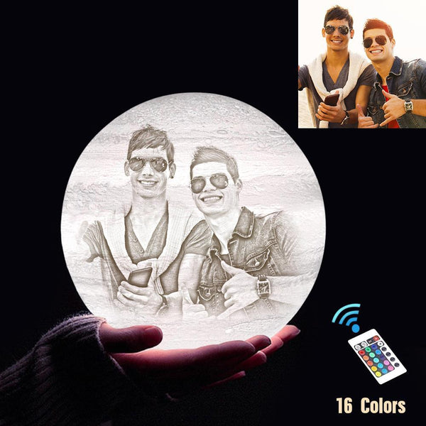 Personalized 3D Printing Photo&Engraved Jupiter Lamp - For Friends - Remote Control 16 Colors(10cm-20cm)