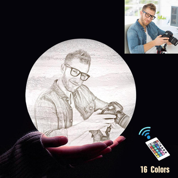 Personalized 3D Printing Photo&Engraved Jupiter Lamp - For Lover - Remote Control 16 Colors(10cm-20cm)