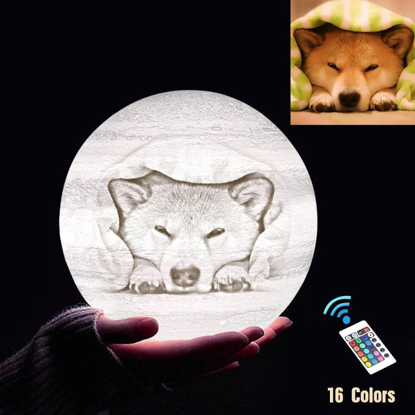 Personalized 3D Printing Photo&Engraved Jupiter Lamp - For Pet Lover - Remote Control 16 Colors(10cm-20cm)