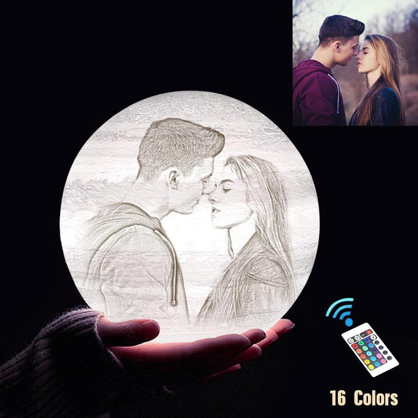 Personalized 3D Printing Photo&Engraved Jupiter Lamp - For Valentine - Remote Control 16 Colors(10cm-20cm)