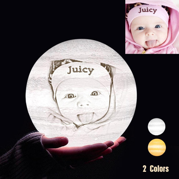 Personalized 3D Printing Photo&Engraved Jupiter Lamp - For Baby - Touch 2 Colors(10cm-20cm)