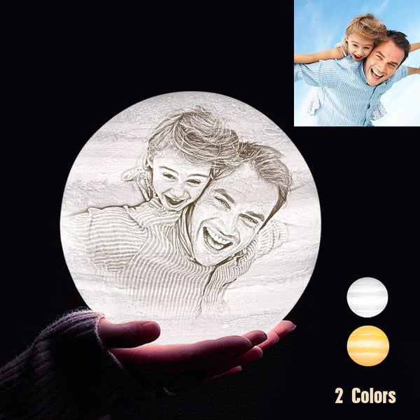 Personalized 3D Printing Photo&Engraved Jupiter Lamp - For Family - Touch 2 Colors(10cm-20cm)
