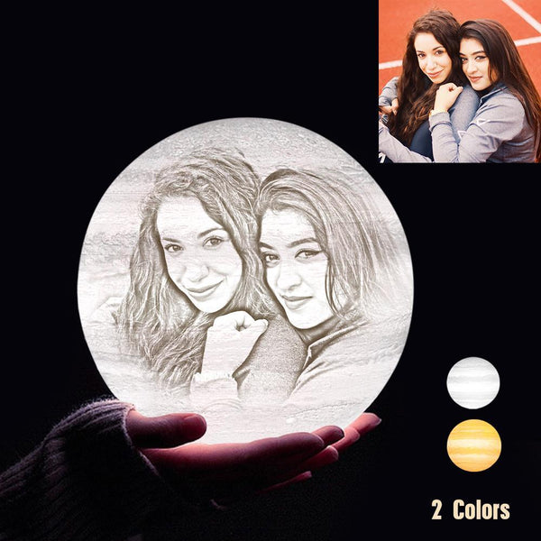 Personalized 3D Printing Photo&Engraved Jupiter Lamp - For Friends - Touch 2 Colors(10cm-20cm)