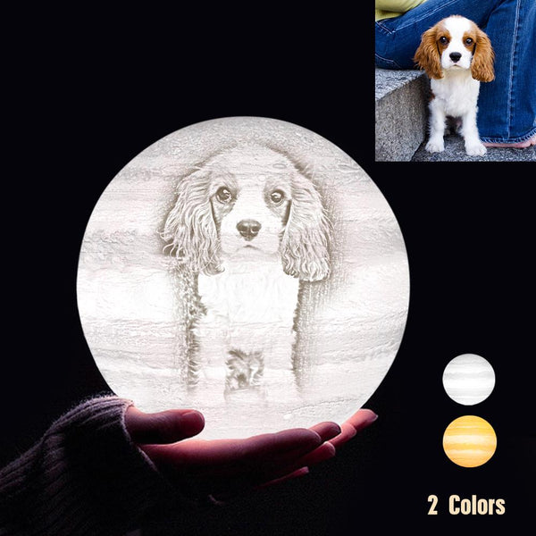 Personalized 3D Printing Photo&Engraved Jupiter Lamp - For Pet Lover - Touch 2 Colors(10cm-20cm)