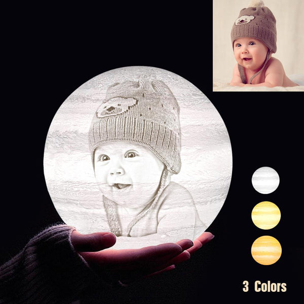Personalized 3D Printing Photo&Engraved Jupiter Lamp - For Baby - Tap 3 Colors(10cm-20cm)