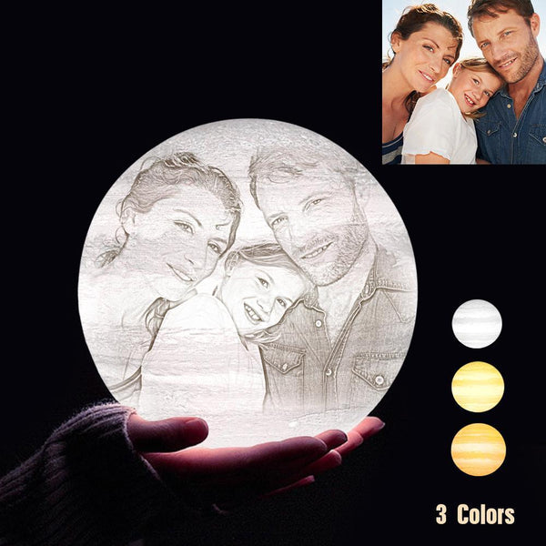 Personalized 3D Printing Photo&Engraved Jupiter Lamp - For Family - Tap 3 Colors(10cm-20cm)