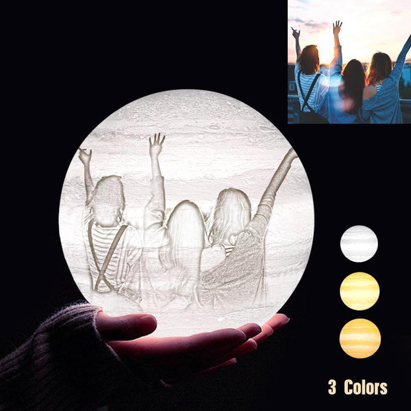Personalized 3D Printing Photo&Engraved Jupiter Lamp - For Friends - Tap 3 Colors(10cm-20cm)