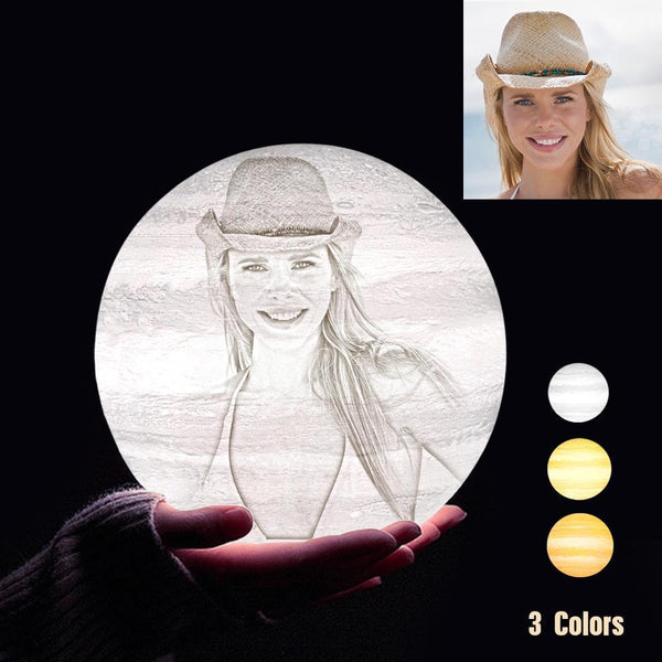 Personalized 3D Printing Photo&Engraved Jupiter Lamp - For Lover - Tap 3 Colors(10cm-20cm)