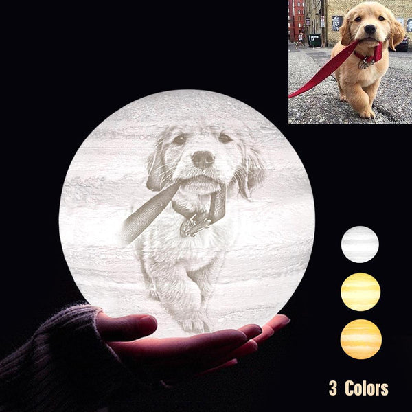 Personalized 3D Printing Photo&Engraved Jupiter Lamp - For Pet Lover - Tap 3 Colors(10cm-20cm)