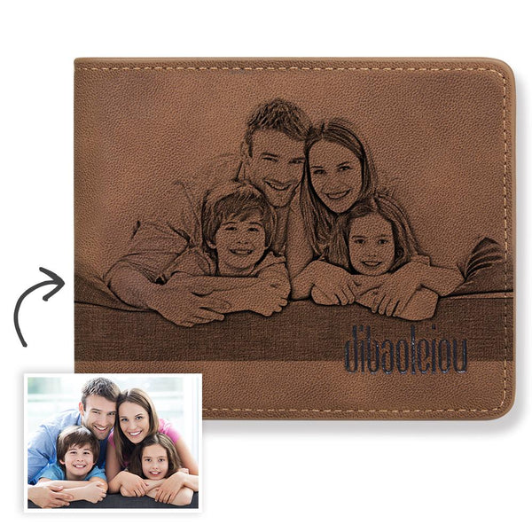 Father's Day Gift - Custom Photo Wallet with Text - Family
