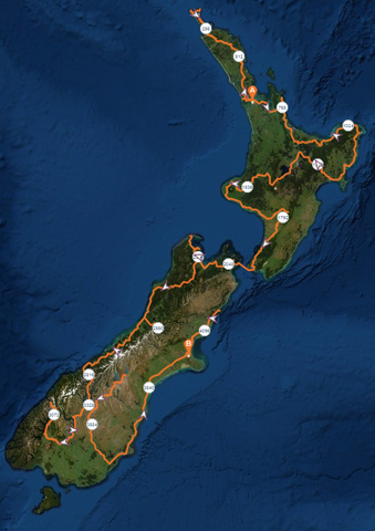 A rough route of where we plan to go in New Zealand during out 76 days in the country.
