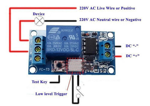 12v 1 Channel Latching Relay Module With Touch Bistable