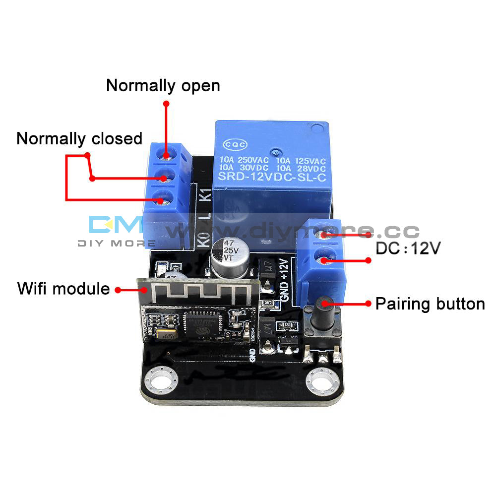 Dc12v Esp8285 Self Lock Smart Home Wifi Switch Delay Relay Module Android 1 X Dc 12v Wireless