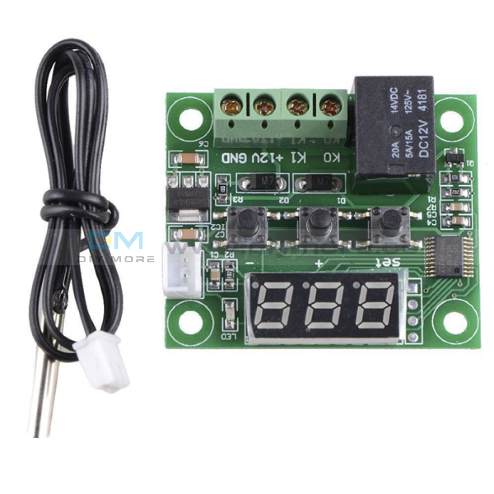 W1209 Dc 5V 12V 24V 220V Red Blue Led Digital Thermostat Thermometer Module + Ntc Waterproof Sensor