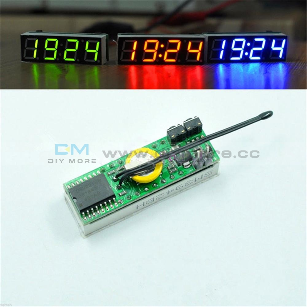 Red Blue Green 3 In 1 Led Ds3231Sn Digital Clock Temperature Voltage Module Diy