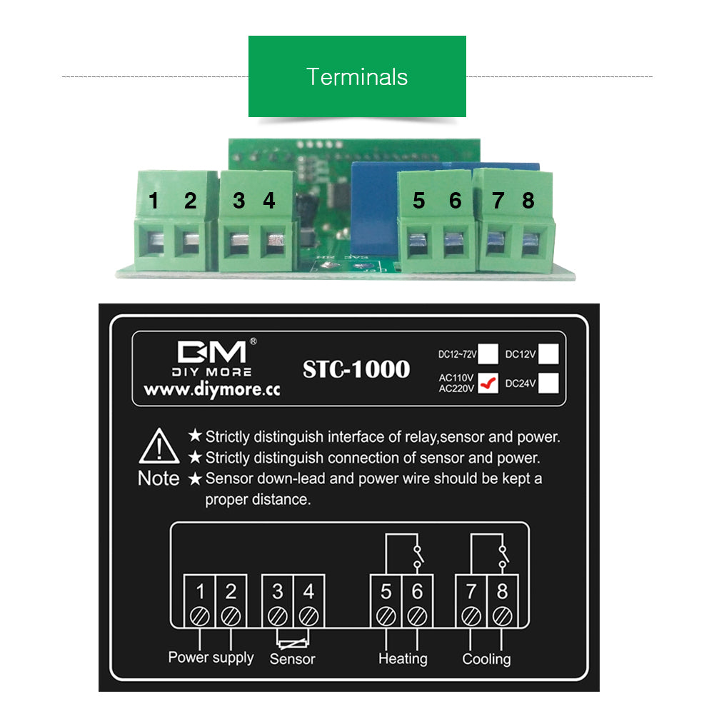 STC-1000 Digital Temperature Controller Thermostat Aquarium Sensor AC 110-220V