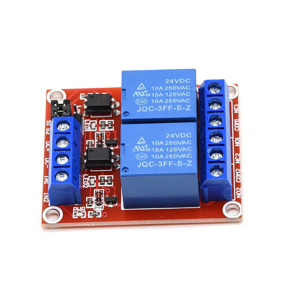 2 Channel Relay Module 24V With Optocoupler Support High and Low Level Trigger