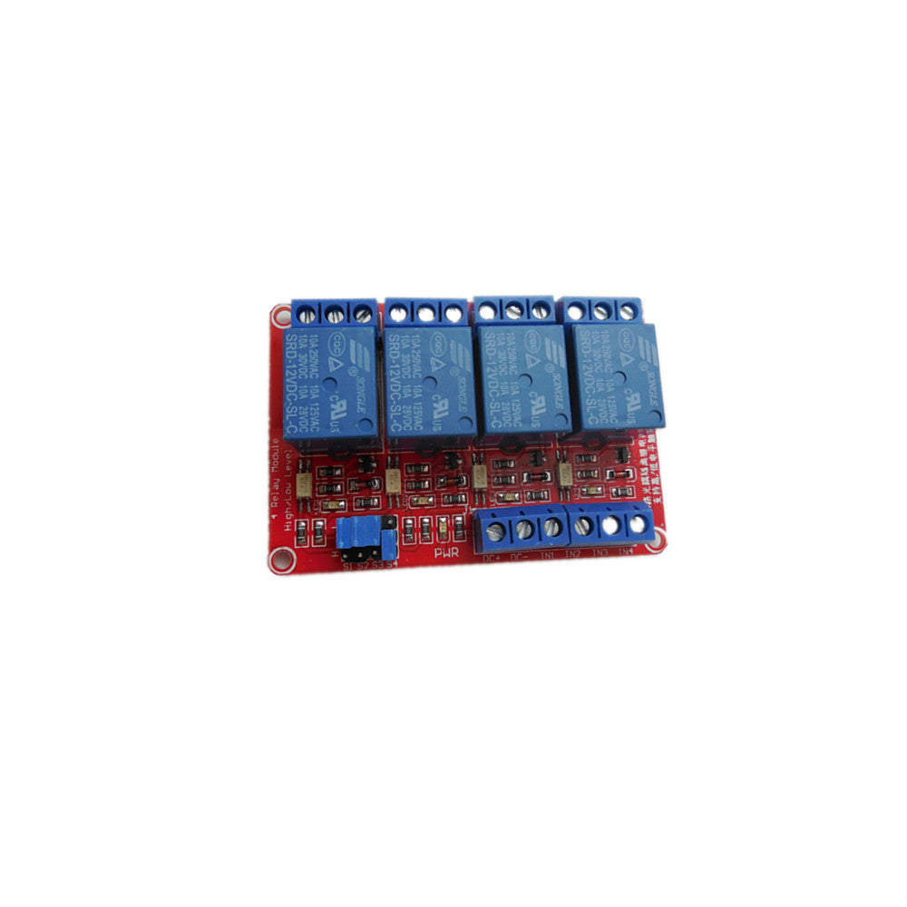 12V/4 Channel Relay W/ Optocoupler Support High Low Level Trigger