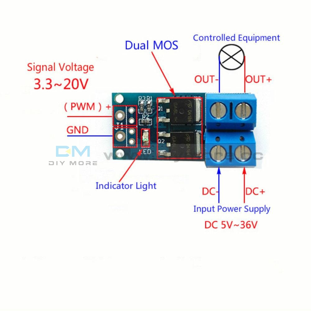 15A 400W Mos Fet Trigger Switch Drive Module Pwm Regulator Control Panel Relay