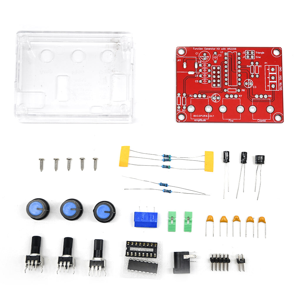 XR2206 Signal Generator Producer Function Generator Board DIY Kit Module Sine Triangle Square Output 1HZ-1MHZ + Case