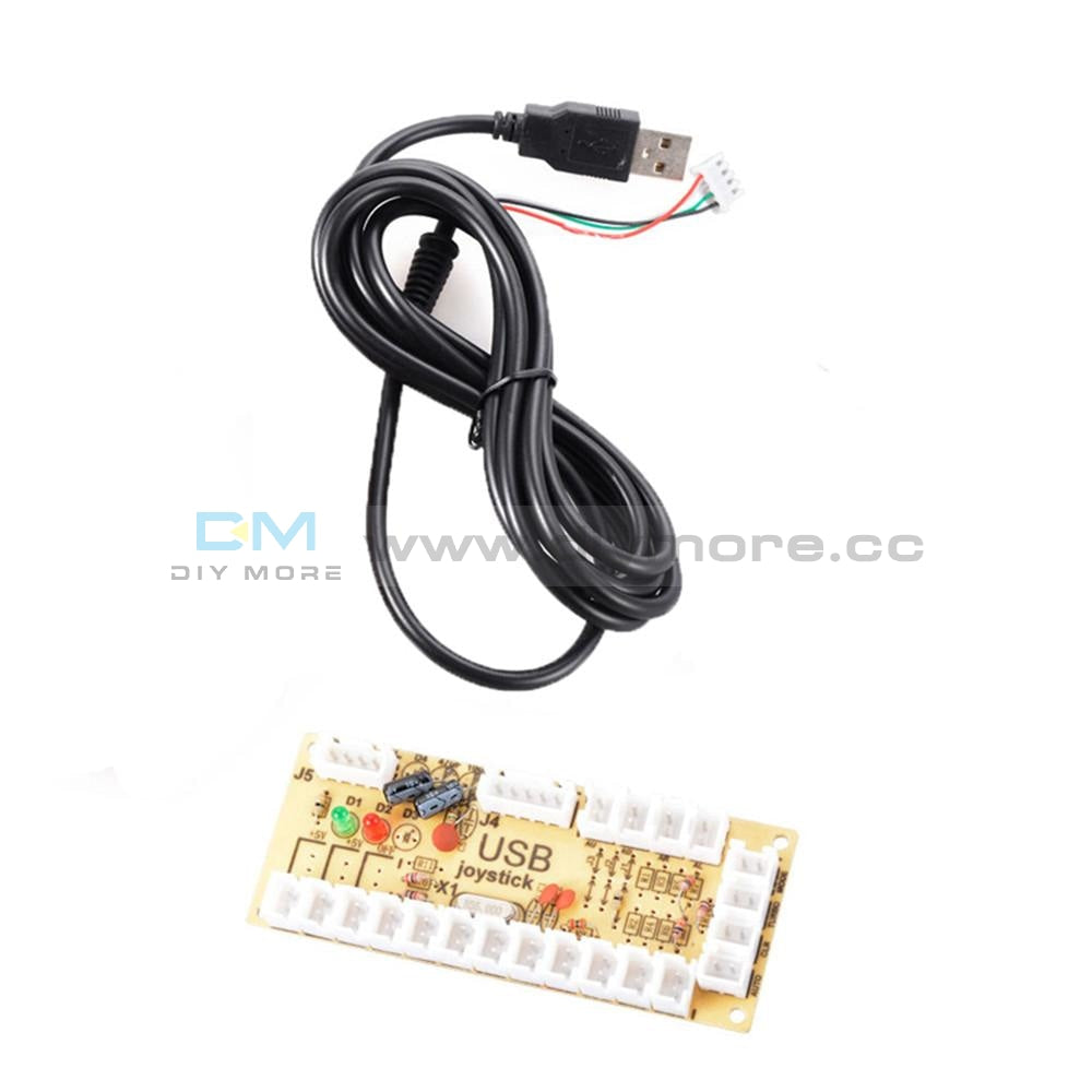 Zero Delay Led Arcade Mame Encoder Usb To Pc 5Pin Joystick Pcb Board+Cables Function Diy