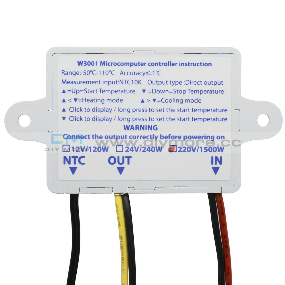 Led Digital Temperature Controller Ac 220V 110V 10A W3001 Thermostat Control Switch With Ntc10K 1M