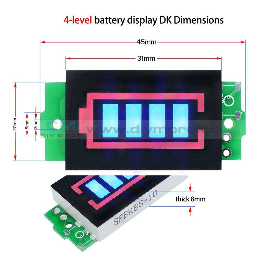 3S Lithium Battery Capacity Indicator Module 12.6V Blue Display Power Tester Protection Board