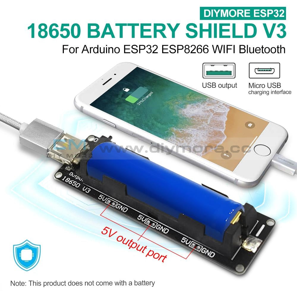 Micro Usb Wemos Esp32 18650 Battery Shield V3 Esp-32 For Arduino Raspberry Pi Expansion Module