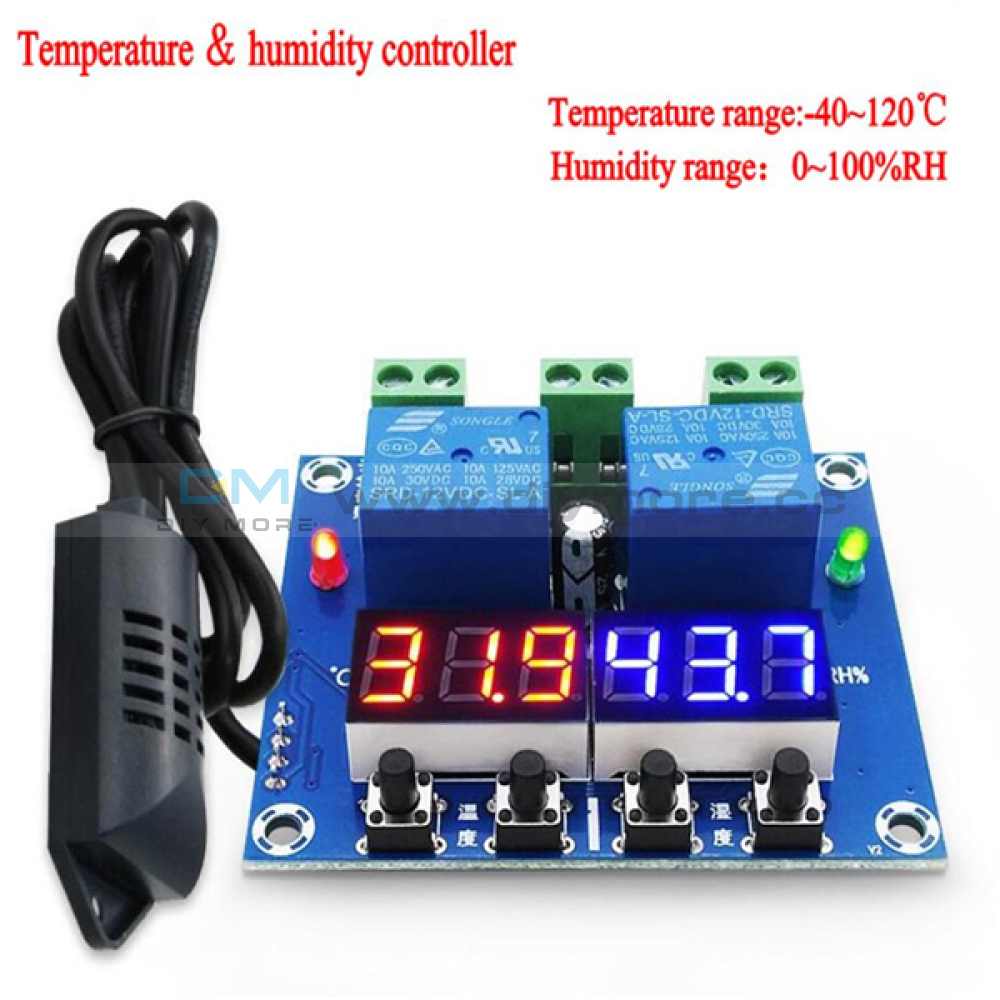 Dc 12V Led Digital Temperature Humidity Controller Dual Output Thermostat M452 Blue