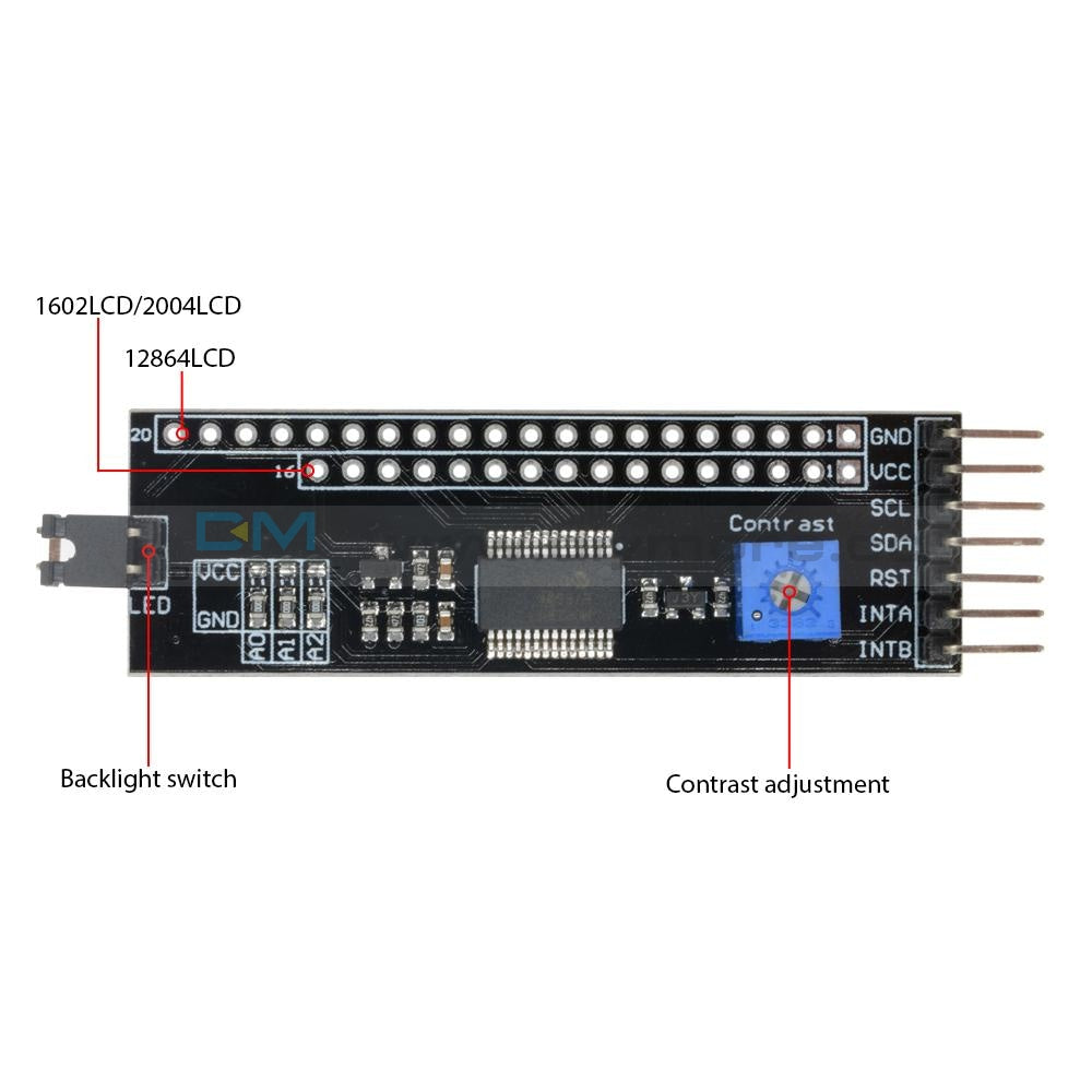 Iic I2C Twi Spi Serial Interface Expanded Board Module Port For Arduino Uno R3 1602 Lcd 2004 12864
