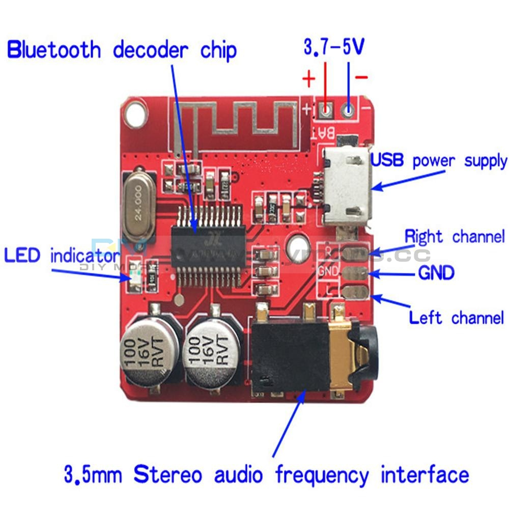 Car 5V 12V Mini Mp3 Decoder Board Usb Tf U-Disk Reader Player Amplifier With Ir Remote Controller