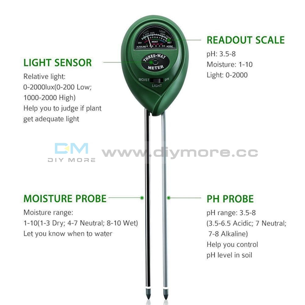 3 In 1 Digital Ph Tester Sunlight Soil Moisture Meter Detector Plant Garden Value Detect Sensor