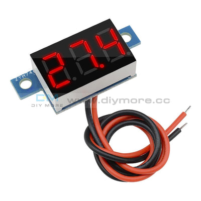 Led Panel Meter Mini Lithium Battery Digital Voltmeter Dc 3.3V - 17V A Red/green/yellow/blue Red