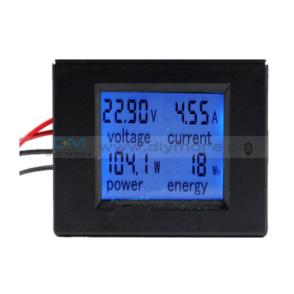 Dc 6.5~100V 0~20A 4 In 1 Digital Voltage Current Power Energy Meter Large Lcd Screen Voltmeter
