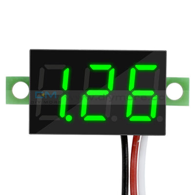 0.36 Dc 0-30V Led Panel Voltage Meter 3-Digital Display Voltmeter 3 Wires Red/blue/green Green