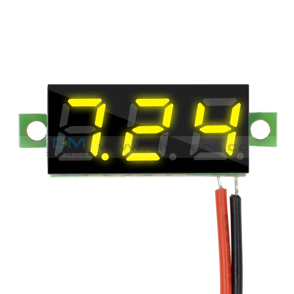0.28 2 Wire Mini Dc Digital Panel Voltmeter Mount Led Voltage Yellow/blue/green/red Yellow Display