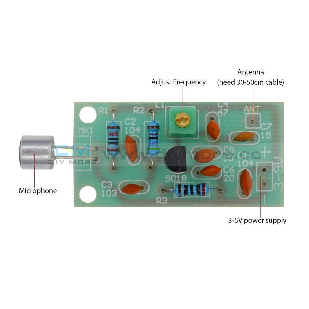 Mini Wireless Microphone Ham Fm Radio Transmitter Module 3-5V 91-103Mhz Rfid