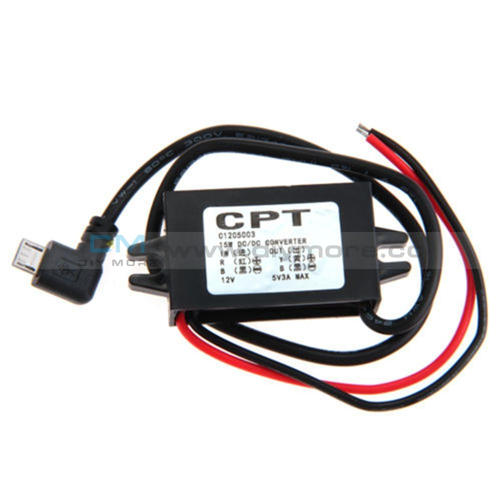 Waterproof Dc-Dc Converter 12V To 5V 3A Step Down Power Supply Module Micro Usb