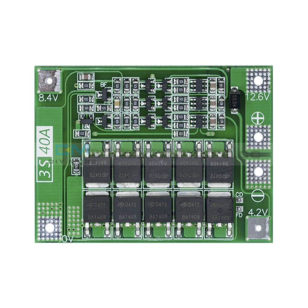 Bms 3S 40A 11.1/12.6V Lithium 18650 Battery Protection Board Enhance/balance Pcb Module Power Bank