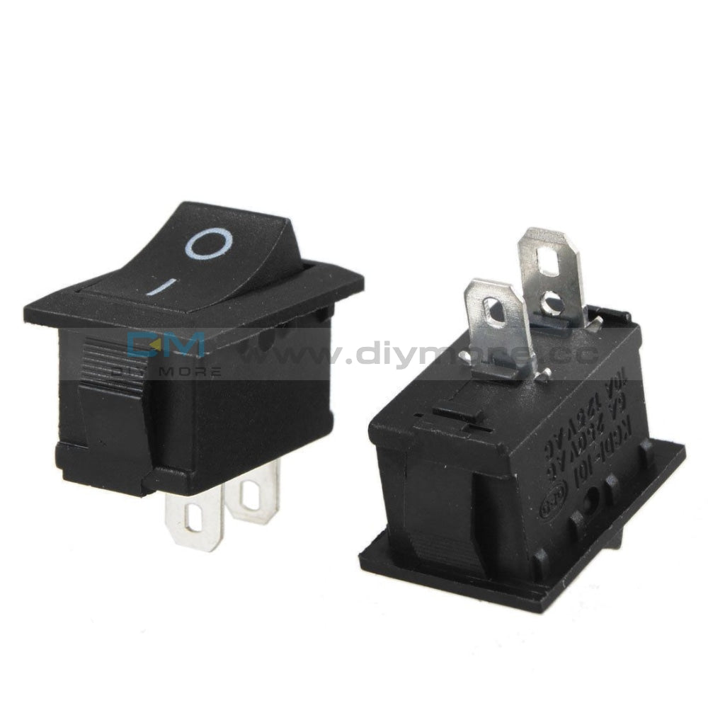 Kcd1-101 Car Truck Boat Round Rocker 2 Pin On/off Toggle Spst Switch 125V 6A Black/red Black Tools