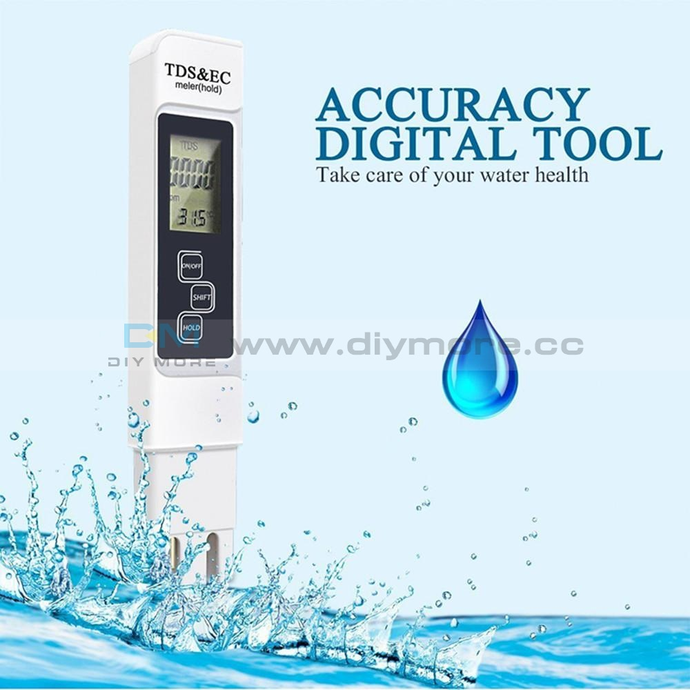 3 In 1 Tds Ec Ppm Multifunctional Water Quality Meter Tester Pen Lcd Display Ph Value Detect Sensor