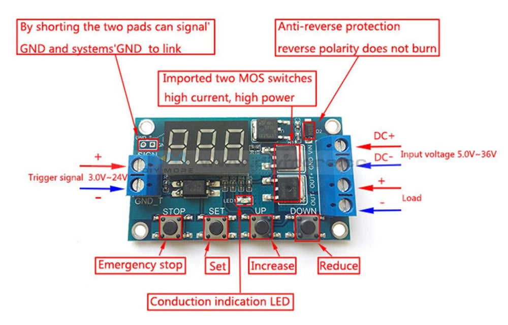 Trigger Cycle Timer Delay Switch 12 24V Circuit Board Mos Tube Control Module Relay