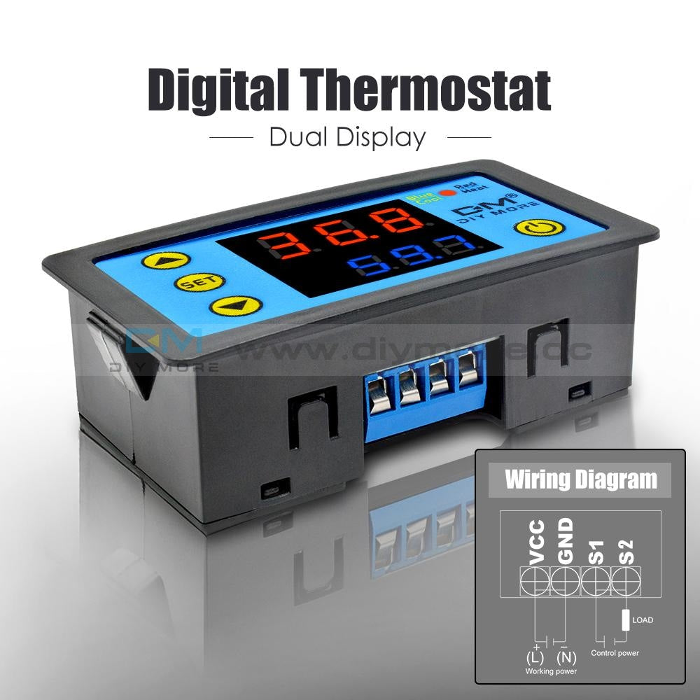 Dual Display W3231 Red&blue Ac 110-220V Digital Thermostat Relay Mos Sensor Dc 24V